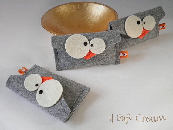Il Gufo Creativo IPhone gray felt cases