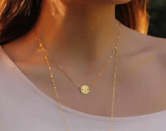 Coin disc necklace gold necklace disc necklace 14k gold