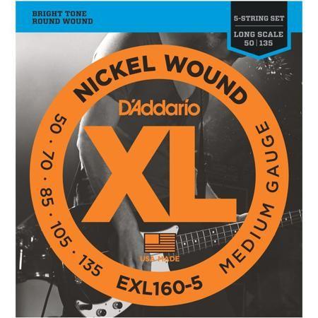 """D'Addario EXL160-5 (для бас-гитары)  — 1691 руб. —  Комплект из пяти струн для бас-гитар со средней длиной мензуры до 36 1/4 дюймов. Входят в серию Nickel Wound: стальная обмотка, покрытая никелем. Толщина от первой до последней струны: 0.050"""", 0.070"""", 0.085"""", 0.105"""", 0.135""""."""