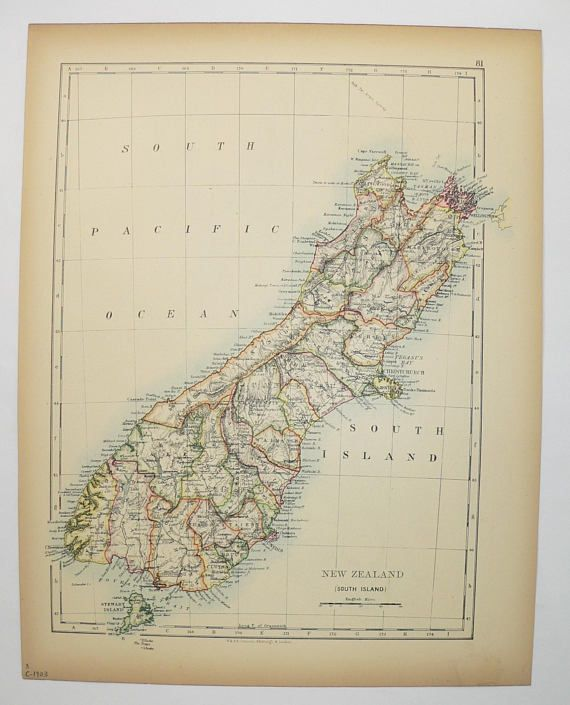 1903 Vintage New Zealand Map, South Island Map New Zealand, ChristChurch NZ Map, New Guinea Map, New Zealand Gift, Old Map New Guinea Gift available from OldMapsandPrints.Etsy.com #NewZealand #SouthIslandNZMap #NewGuinea #1903VintageMap