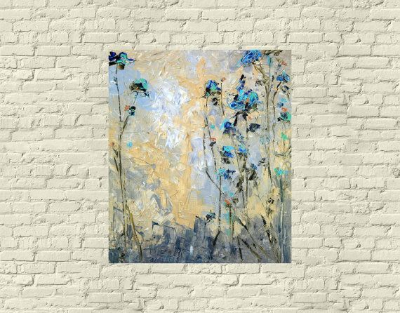 Gray Blue Navy Brown Beige Mint Malachite Art Original Oil Painting Palette Knife Impasto Print Flowers Asters Gerbera Abstract Cityscape Art High Quality Print Modern Painting Impressionist Artist Russian Painting Size 43 in 110 cm Wall Art Living Room Gift for Mom  Original Fine Art Reproduction Print on Canvas Hello! This is high-quality flowers print on canvas my original oil painting San Francisco Flowers in the City.  Size: You can choose any of the sizes (- the size of the finished…