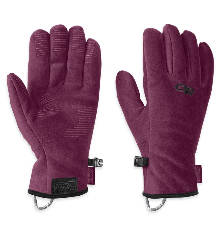 Outdoor Research Girl's Fuzzy Gloves, Orchid, Large. Silicone Grip Pads on Palm and Finger Tips. Leather Grab Tab at Wrist. Quick drying and breathable.