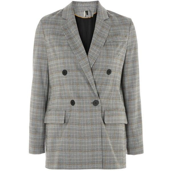 Topshop Petite Checked Double Breasted Jacket ($91) ❤ liked on Polyvore featuring outerwear, jackets, blazer, topshop, grey, checked blazer, topshop blazer, topshop jackets, blazer jacket and petite blazer