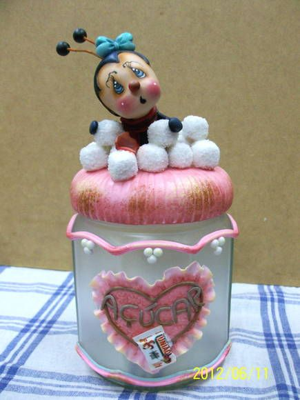 Pote de açúcar com formiga-encomenda | Atelier Célia Benatti | 2D987B - Elo7