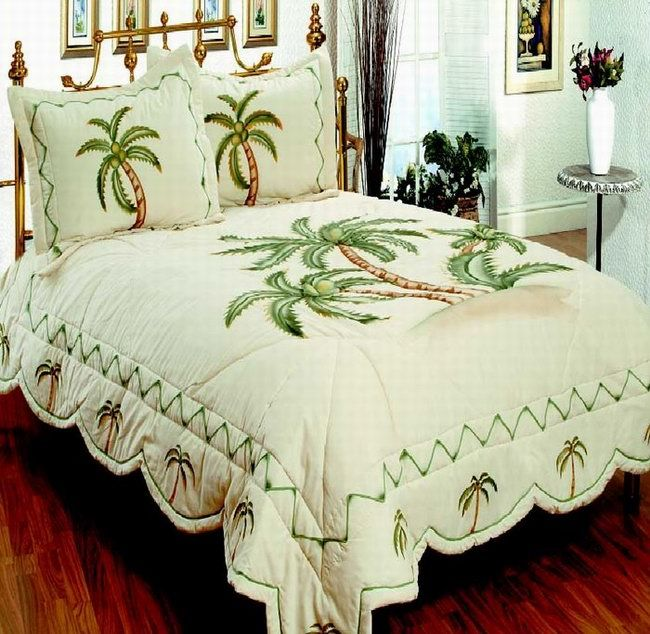 Palm themed bedding beautiful tropical palm tree bedding for Hawaiian themed bedroom designs