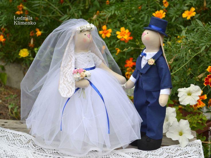 Купить Свадебные зайцы-неразлучники. - белый, свадебное украшение, свадебный…