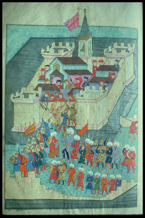 Title	Suleymanname  Category	Ottoman Turkish Miniature Paintings  Object Name	Suleymanname  MS title and folio number	Chester Beatty Library. Manuscript. 413, fol. 78r  Location	Turkey  Dynasty	Ottoman family  Subject, LCSH	Art, Islamic -- Turkey  Miniature painting -- Turkey -- 16th century