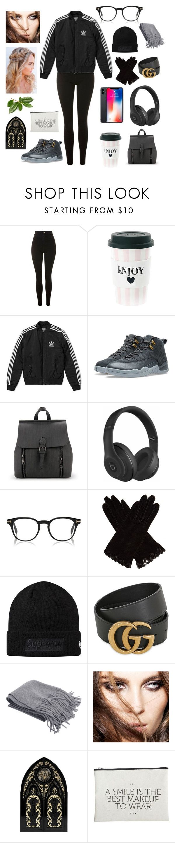 """🥤❄️"" by cxnfession ❤ liked on Polyvore featuring Topshop, Miss Étoile, adidas, NIKE, Beats by Dr. Dre, AGNELLE, Gucci, Kat Von D, House Doctor and Winter"