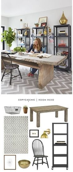 Genevieve Gorder's rustic home office featured recreated for less by Copy Cat Chic | look for less home decor
