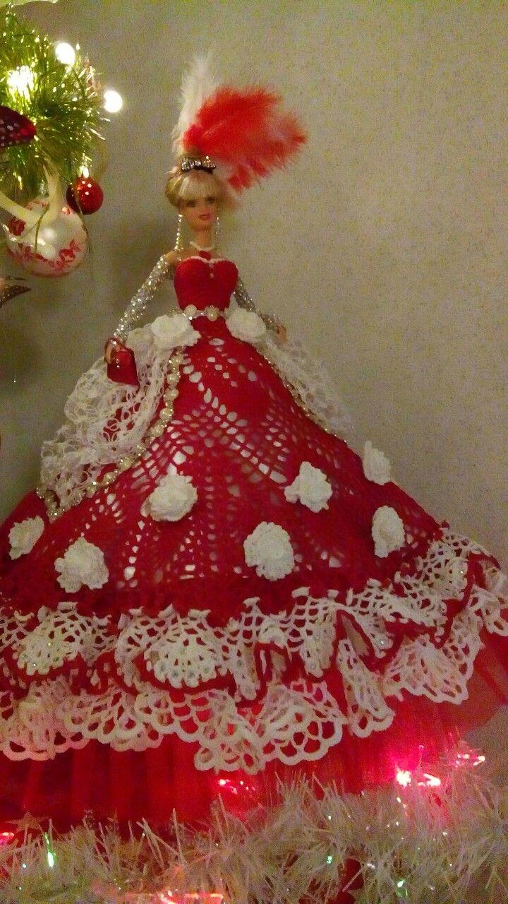 handmade crochet Christmas barbie gown dress