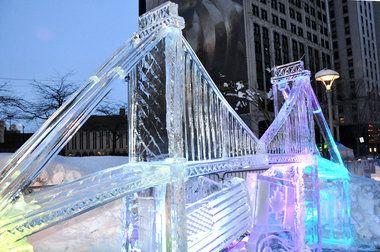 Detroit Ambassador Bridge Winter Image