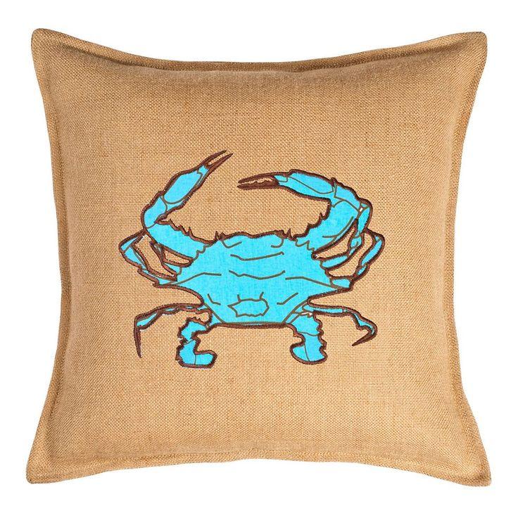 Greendale Home Fashions Crab Burlap Throw Pillow, Light Blue