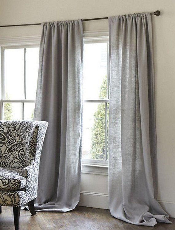 Shabby Chic Look Linen Curtain Panel With Rod Pocket