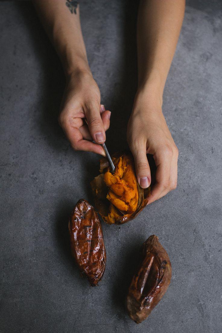 Sweet Potato Pancakes with cinnamon. Recipe and photograpy by Tanya Balyanitsa (more on Honeytanie.com)
