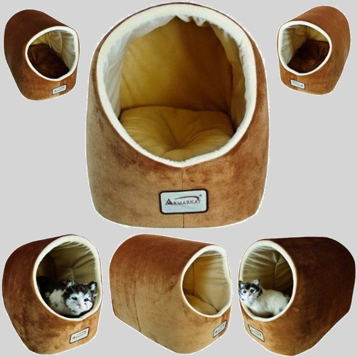armarkat cc11czsmh brown and ivory cat bed covered in soft velvet fabric