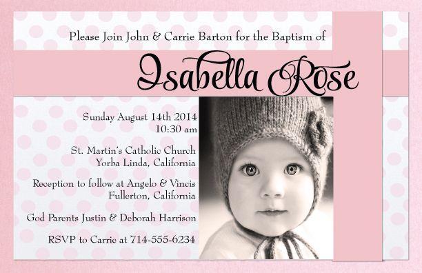 Classic Baby Pink Baptism Invitation Di 803 Custom Invitations