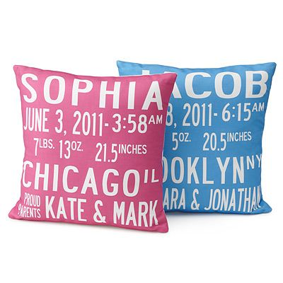 Birth announcement pillows. I love this idea! I definitely think this can be a DIY :)