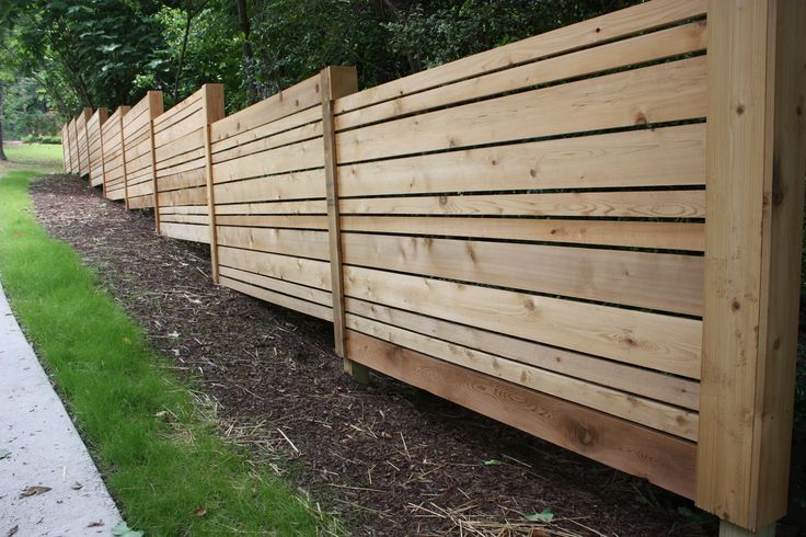 Alternate size planks cedar fence honey i 39 m home for Horizontal garden screening