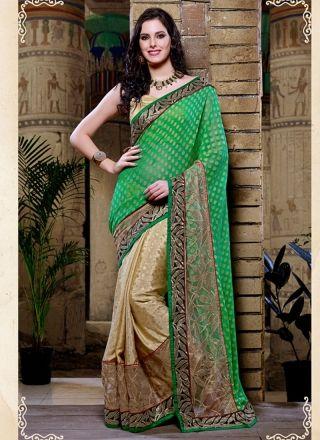 Glorious Green And Cream Designer Party Wear Saree http://www.angelnx.com/Sarees