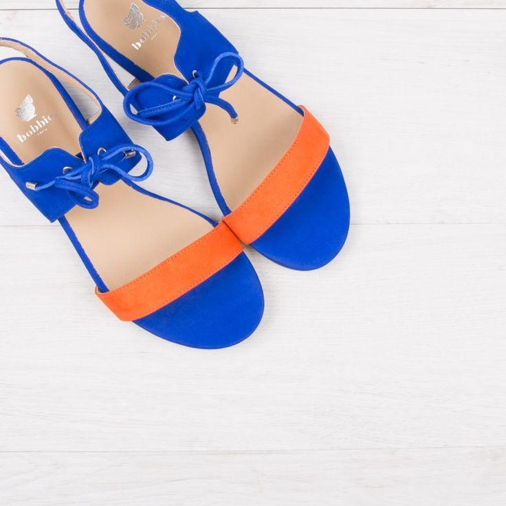 Sandales bleu aztek & orange - La Flâneuse - Bobbies