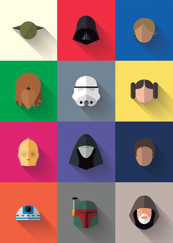 Star Wars - Long Shadow Flat Design Icons on Behance