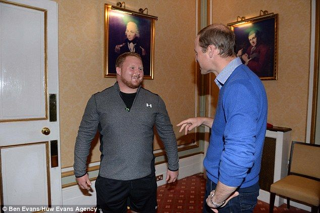 The Duke, who is Royal Vice Patron of the Welsh Rugby Union, has a discussion with prop Samson Lee