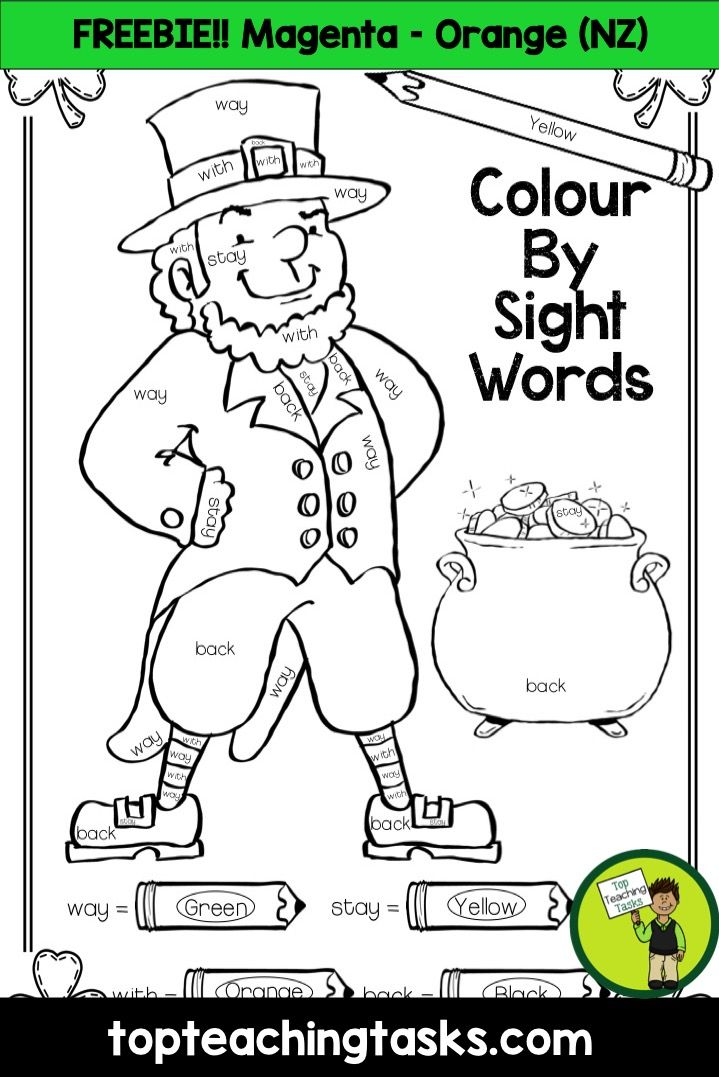 This freebie pack includes St. Patrick's Day Colour By Sight Words printables for the Magenta - Orange Levels (New Zealand). Help your students build their sight word fluency with this fun visual art activity.