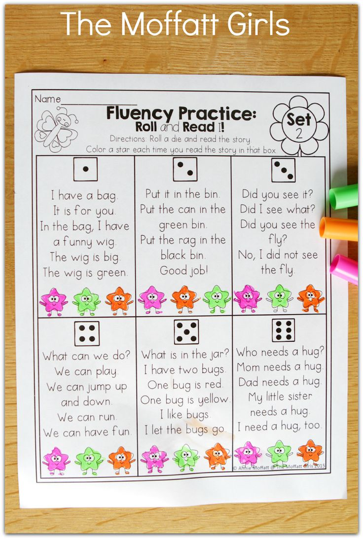 FLUENCY PRACTICE- Roll a die, read a simple story and color a star! So many FUN and effective printables!