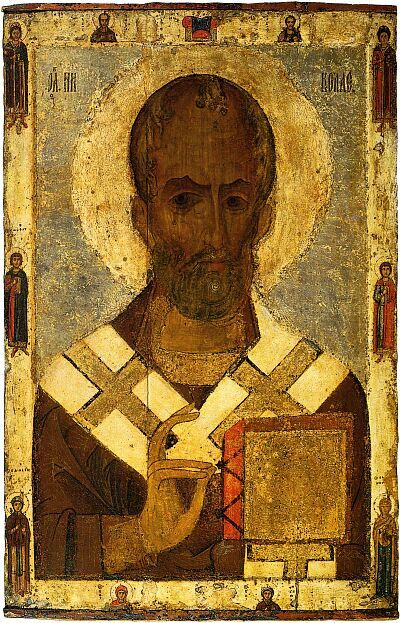 Russian icon of Saint Nicolas from Smolenskiy Cathedral of Novodevichiy monastery in Moscow. Early XIII century. State Tretyakov Gallery
