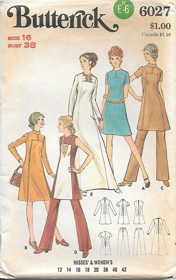 Butterick 6027 UNCUT 1970 Contrasting Inset A Line Dress