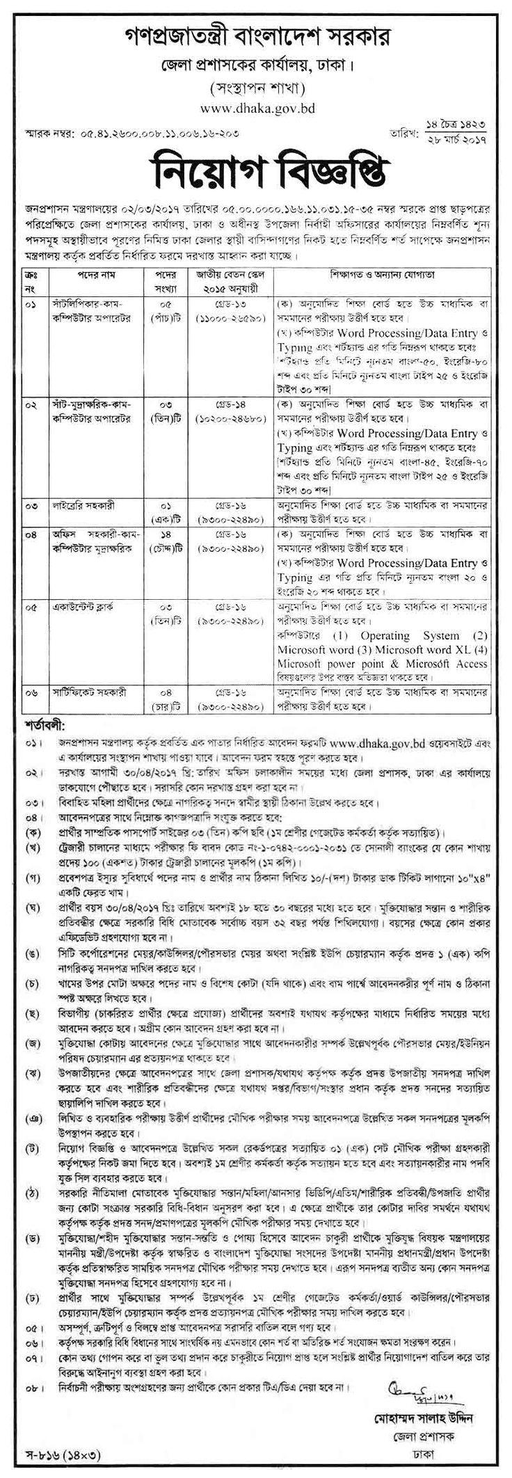 Deputy Commissioner's Office Job Circular April 2017 – Jobs Circular BD