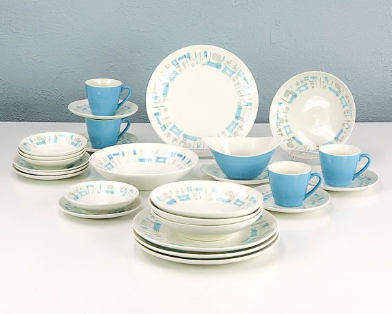Vintage Blue Heaven by Royal China Dinnerware Set for 4