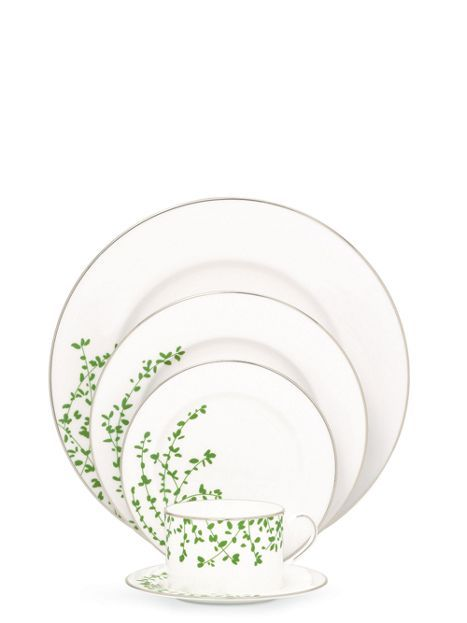 The fact that I currently have no need for fine china is beside the point, as I am in love with this platinum-trimmed design: gardner street green 5 piece place setting by @kate spade new york