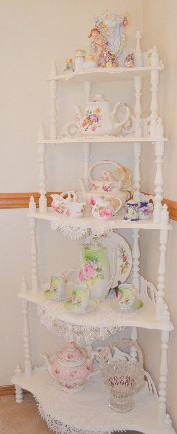 Shabby Chic Corner Shelf Decoration                                                                                                                                                                                 More