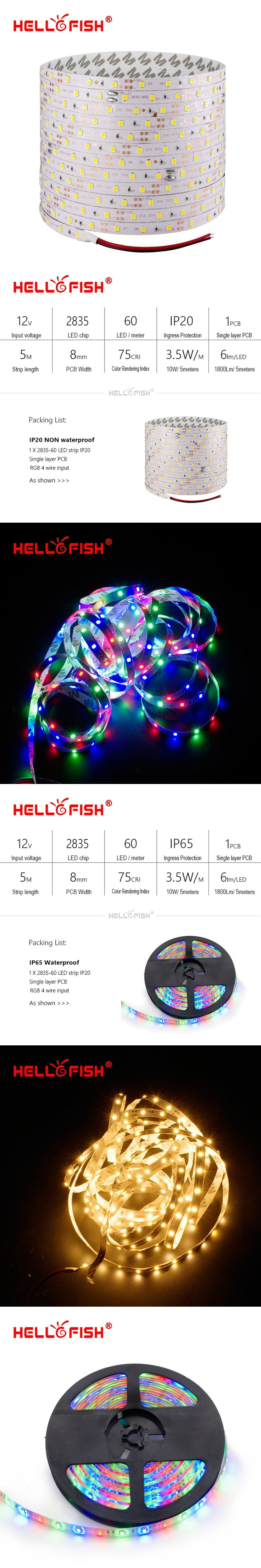Hello Fish LED strip DC12V flexible LED light waterproof LED tape 5M 300 led chips RGB/ white/warm white/blue/green/red/yellow