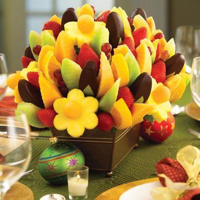 Centro de Mesa de Frutas con Chocolate