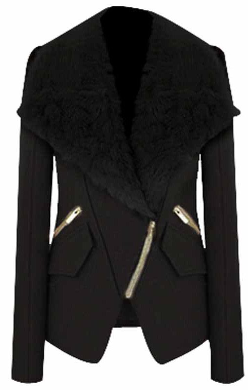 Black Long Sleeve Fur Lapel Oblique Zip Coat GBP£36.26.  women's fashion and street style.  fall and winter looks.