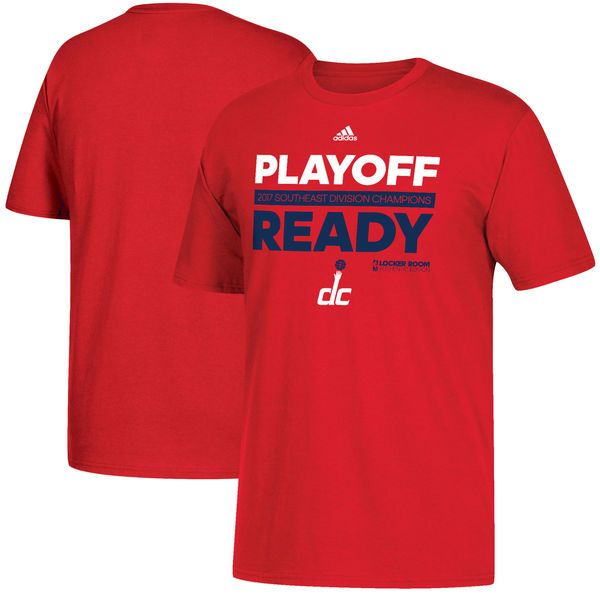 Washington Wizards adidas 2017 NBA Southeast Division Champions Playoff Ready Locker Room T-Shirt - Red - $23.99