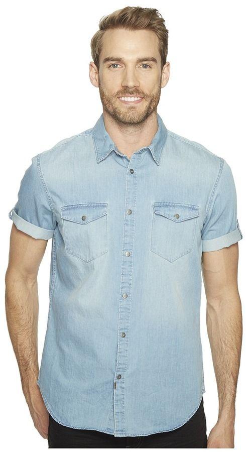 Calvin Klein Jeans Short Sleeve Denim Shirt Men's Short Sleeve Button Up
