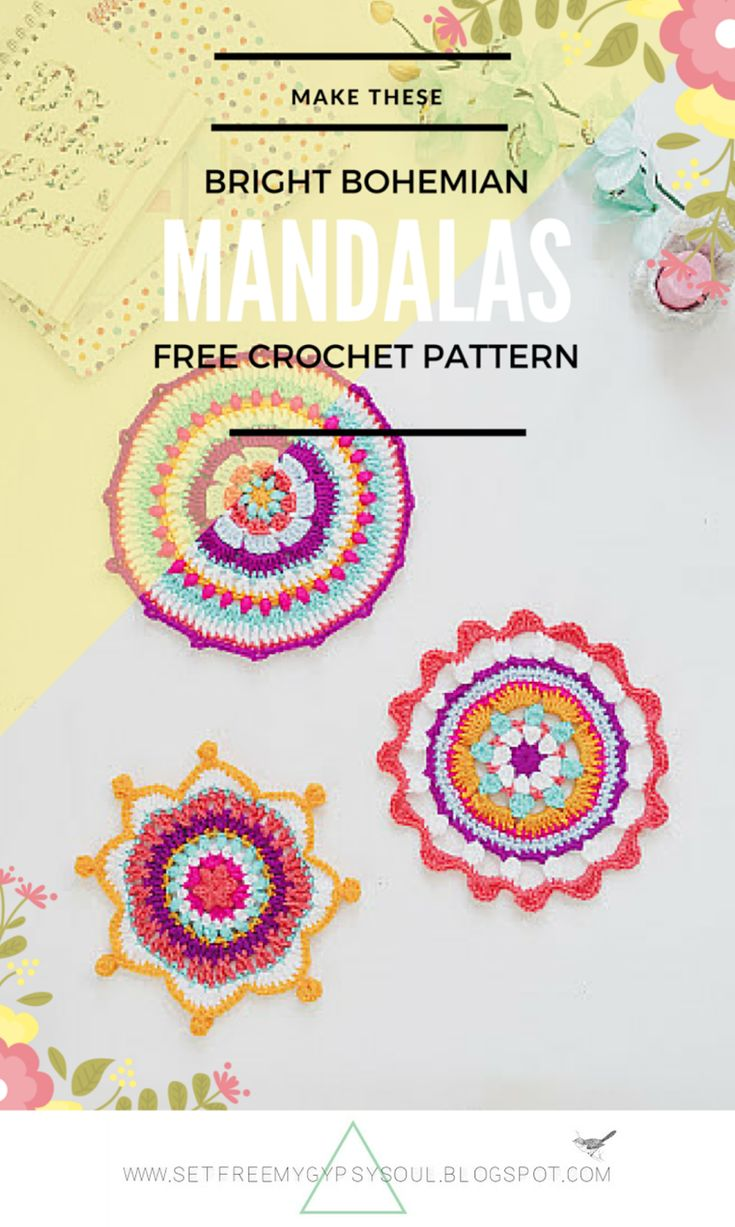 Free Crochet Pattern | 3 free Mandala crochet patterns for Bright Bohemian homes and potholders
