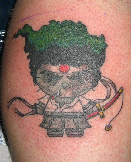 tatouages hello kitty samourai   15 tatouages Hello Kitty insolites   vendredi 13 The Walking Dead tatouage tatoo squelette spoke photo imag...