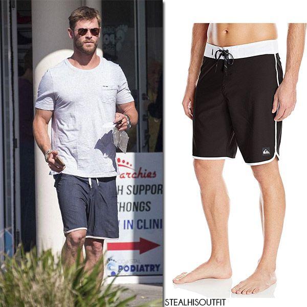Chris Hemsworth in grey t-shirt and black shorts