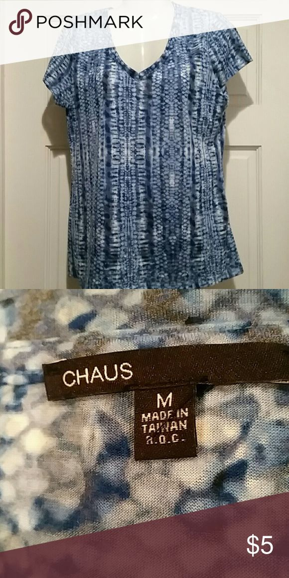 V-neck Casual Top Blue and white short sleeve top. Lightweight and very comfy. chaus Tops Tees - Short Sleeve
