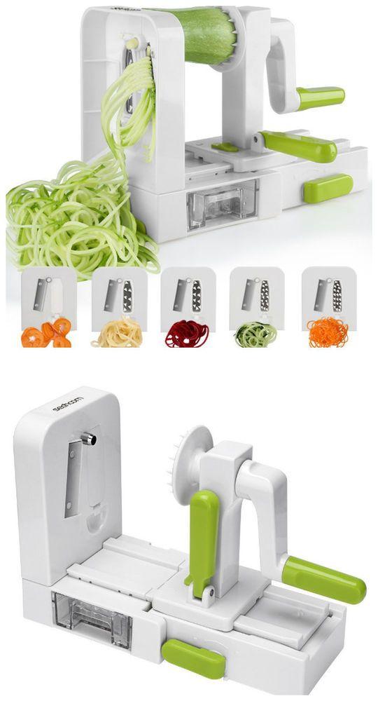 Vegetable Spiral Cutter Slicer 5 Blades Veggie Pasta Maker Spiralizer Foldable #VegetableSpiralizerSlicers
