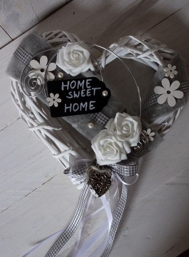 Door wreath, door decoration, heart, HOME SWEET HOME, spring, summer, gray-white | M …