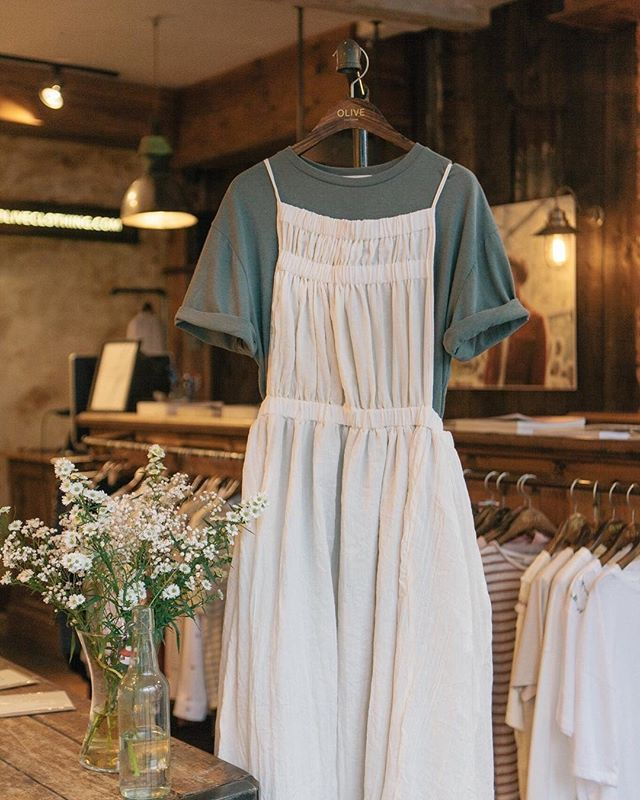 WEBSTA @ oliveclothing - Pinafores and loose tees, a mid summer favourite, Open Back Summer Long Dress and Linen Simple T Shirt both in store now. #7pittvillestreet #oliveclothing