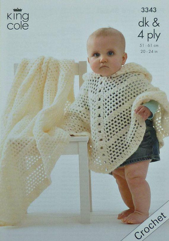 C3343+Crochet+Pattern+Babies+Poncho+and+by+KnittingPatterns4U,+£3.21