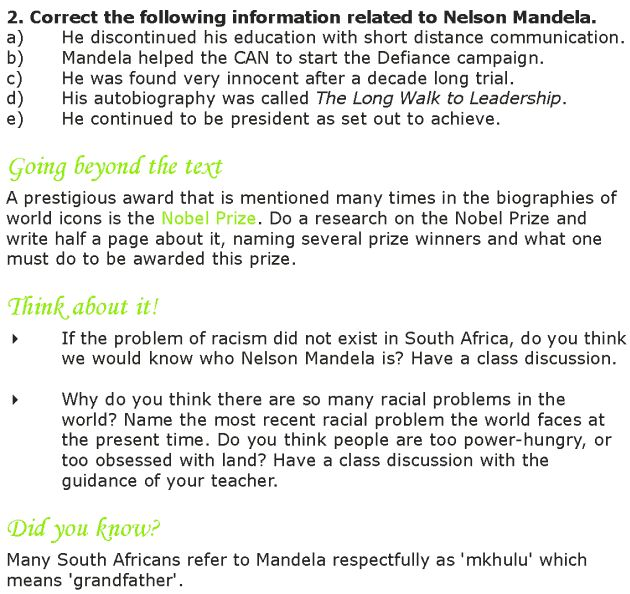 Grade 7 Reading Lesson 14 Biographies Nelson Mandela 4