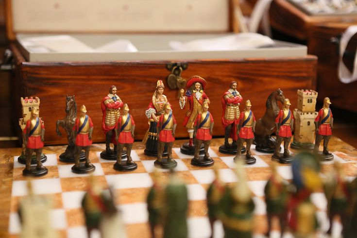 Handmade Tin Chess Set FRENCH - hand painted.  The purpose of French Chess sets is the period of rule of King Louis XIV, which was characterized by its elegance and nobleness. Figures have precisely crafted features from the 17th century. The pewter pieces have an amazing heavy feel and inspiring presence  Chess set of 32 figures, weight 5 Kg. Shapes sizes: King - 9,5 cm, and weight 225 gr., Pawn - 7 cm