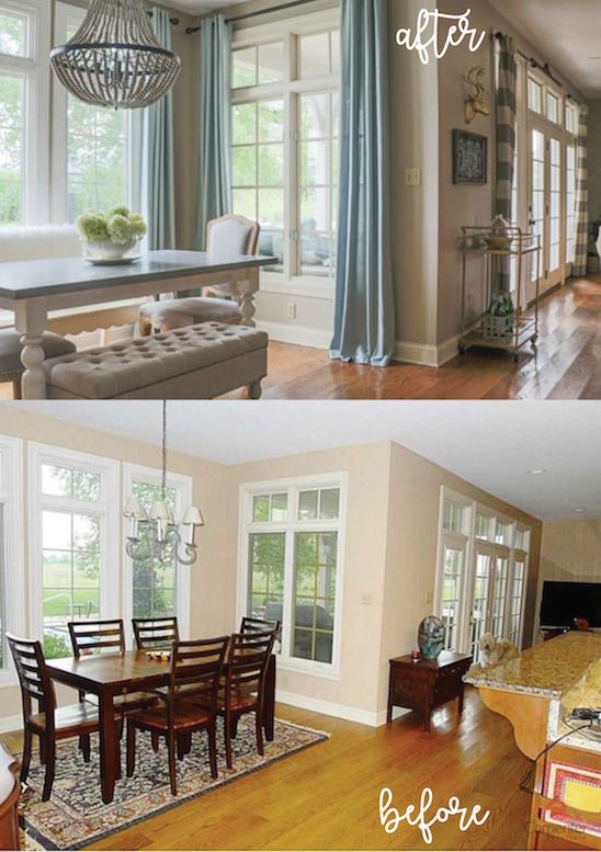 Love before and afters!  Blogger shares easy DIYs for transforming a space like this kitchen nook.